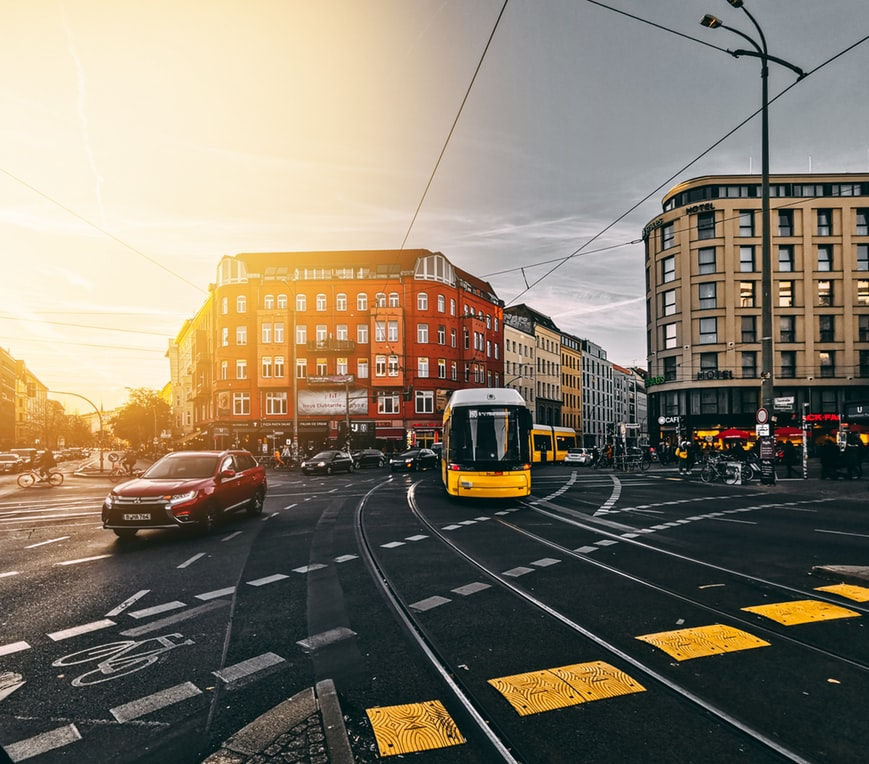 Berlin city centre illuminated with sunset.