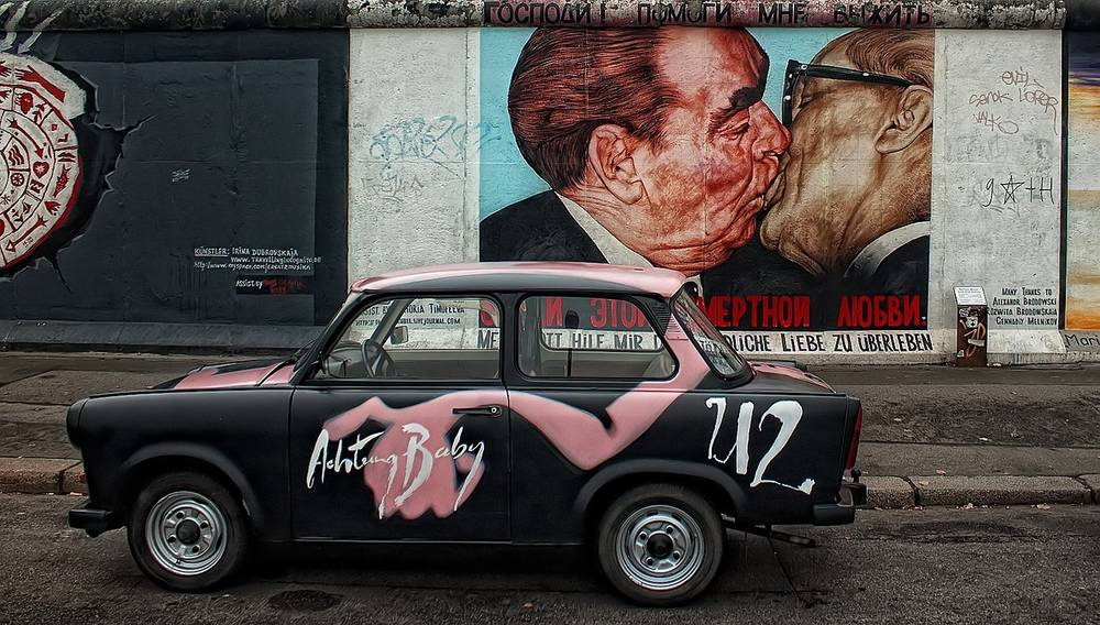 Street art images painted on the Berlin Wall