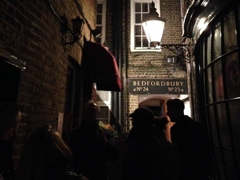 Historic Alleyway from Harry Potter Ghost Haunted London Walking Tour Student Corporate Group