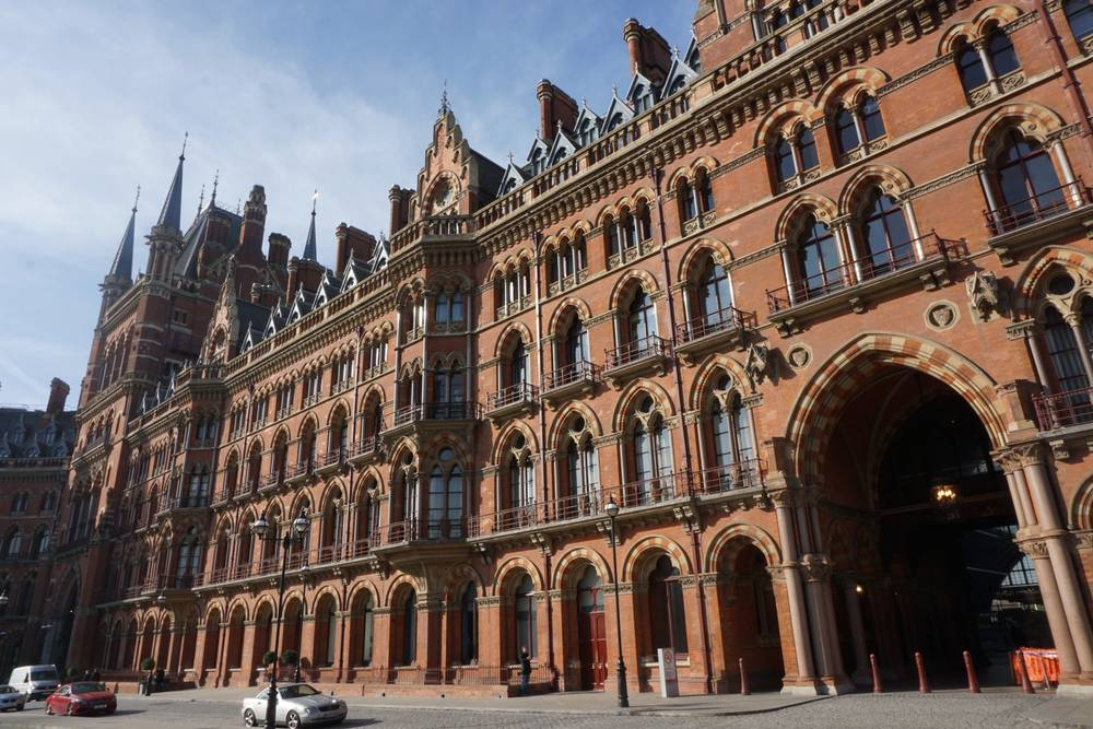 The Historic St Pancras Hotel by Kings Cross ffrom a walking tour