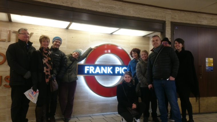 Our guests in front of Frank Pick's memorial in Piccadilly Circus, January 2017.